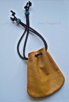 Leather Pouch Crystal Pouch Mojo Bag Coin Pouch Crystal Pendant, Crystal Necklace, Mojo Bags, Wire Wrapping Crystals, You Are Perfect, Yellow Leather, Leather Pouch, Bucket Bag, Bling