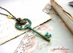 Skeleton Key necklace Personalized antique style by WhiteTeapot