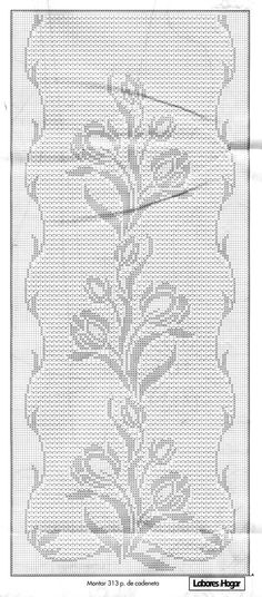 free crochet chart could be cross stitch would be a very pretty double sided knitting pattern - PIPicStats Filet Crochet Charts, Crochet Cross, Tunisian Crochet, Crochet Table Runner Pattern, Crochet Tablecloth, Crochet Designs, Crochet Patterns, Crochet Dollies, Fillet Crochet