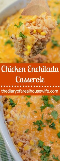 Easy dinner recipe that my family just loved! Simple Chicken Enchilada Casserole