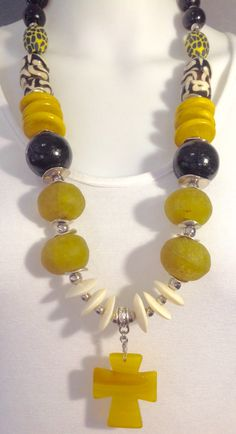 African tribal statement necklace: Yellow, black, white. Agate, recycled glass, bone, wood and polymer clay - Michela Rae