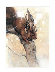 Etsy の Small Fine Art Print  SQUIRREL by StudioJBMongeGoblin