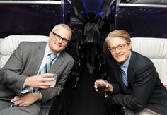 Portland Mayor Sam Adams toasts with Portlandia actor Kyle MacLachlan on our inaugural SFO-PDX flight