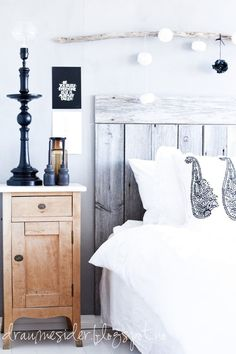 wooden headboard super clean and bright colours.