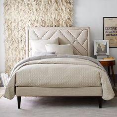Narrow Leg Upholstered Bed Frame - Natural #westelm