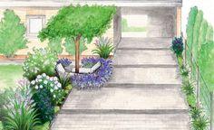 Eine riesengroße Einfahrt mit überdachten Stellplatz am Haus soll etwas verkleinert und mit Pflanzen optisch interessanter gestaltet werden. Wir haben einen Beet-orientierten und einen Zierapfel-oriertierten Gestaltungsvorschlag. (Pflanzplan als PDF zum Herunterladen und Ausdrucken)