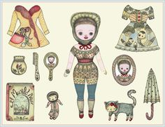 Kiki paper doll by Elsita (Elsa Mora), via Flickr. Love the dress with birds and the cat.