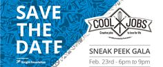 Save the Date email header design for Cool Jobs Sneak Peek Gala.