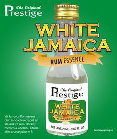 Vit Jamaica Romessens blir blandad med sprit en klassisk vit rom, drickes med cola, apelsin-, citron- eller ananasjuice m fl.