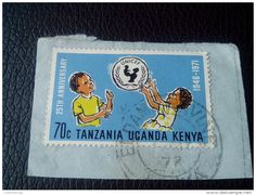 RARE Kenya, Uganda & Tanzania 70CENT 1972 25th Anniversary Of UNICEF LETTRE RECOMMANDEE STAMPS ON PAPER COVER USED SEAL - Kenya, Uganda & Tanganyika