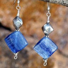 Handmade Kyanite Earrings Sterling Blue Gemstone Beaded OOAK Jewelry | ShadowDogDesigns - Jewelry on ArtFire