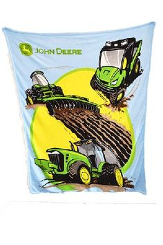 John Deere Tractors And More Thick Sherpa Fleece Blue Blanket