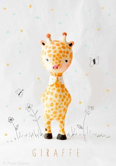 Giraffe Figurine Doll animal, ABC animals by Paola Zakimi