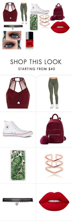 """""""Red and Green"""" by thejaziliao ❤ liked on Polyvore featuring River Island, Converse, Casetify, Betsey Johnson and Lime Crime"""