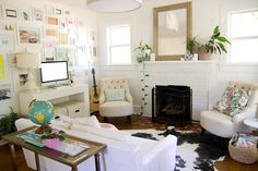 eclectic white living room