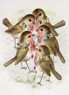 Retro Christmas birds...so cute