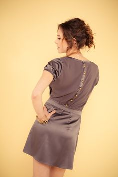 Silk Dress w/pockets back view  www.facebook.com/editacollection2011