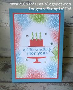 Julie Kettlewell - Stampin Up UK Independent Demonstrator - Order products 24/7: Multi Coloured Happy Birthday