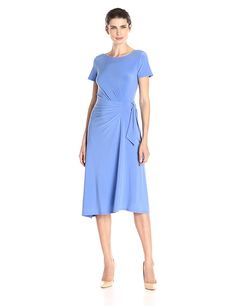 Chaus Women's Cap Sleeve Knot Front Side Ruched Dress -- Read more reviews of the product by visiting the link on the image.