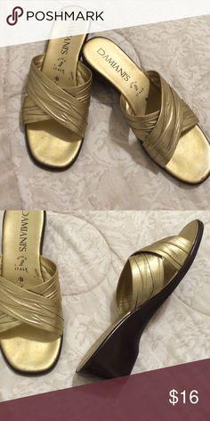 "Gold Damiani's 1 1/2"" heel Made in Italy Gold Damiani's 1 1/2"" heel Made in Italt Diamiani Shoes Wedges"