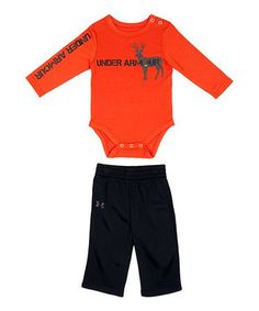 Look what I found on #zulily! Orange Buck Shot Bodysuit & Navy Pants - Newborn by Under Armour® #zulilyfinds