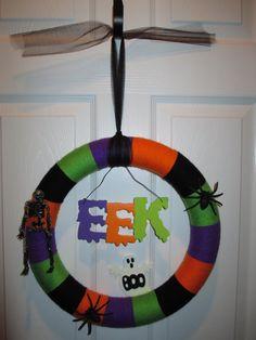Colorful Halloween Yarn Wreath with EEK Ghost by LeahsCraftRoom, $20.00