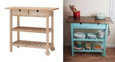 1 Accordion Accordion Scone (via Office Office Desk (via White + Bar Bar Cart: A budget friendly DIY Ikea hack bar cart perfect for summer entertaining. Recycled Furniture, Kitchen Cart, Home Organization, Diy Projects, Project Ideas, Craft Ideas, Sweet Home, Shelves, Fancy