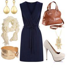 Love this look // pretty navy dress, caramel bag, fantastic impractical heels. :-)