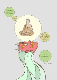 Hot off the press: Mike Medaglia's latest gorgeous illustration features this truly eye- and heart-opening quote from Pema Chödrön. Words Quotes, Wise Words, Life Quotes, Yoga Quotes, Sayings, Meditation Quotes, Mindfulness Meditation, Attitude Quotes, Quotes Quotes