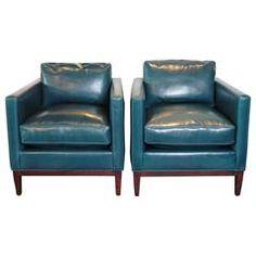 Parisian Blue Leather Lounge Chair