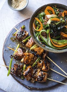 These delicious Yakitori Salmon Skewers are cooked in mirin and soy and served with Red Rice Salad. with kale carrots and cucumber. Read more