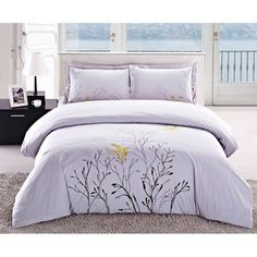 @Overstock - Update your bedroom decor with this lovely light grey duvet cover set that is highlighted by elegant floral embroidery. This cotton, 150-thread count duvet cover set features button closure and two matching shams.http://www.overstock.com/Bedding-Bath/Swallow-Embroidered-3-piece-Duvet-Cover-Set/6342000/product.html?CID=214117 $49.99