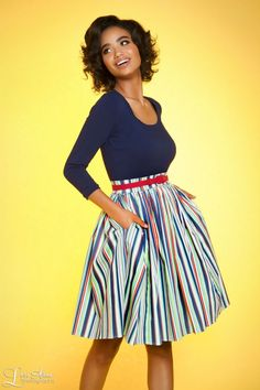 Pinup Couture Allison Dress in Navy Candy Stripes