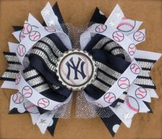 New York YANKEES HAIR BOW Boutique Style Bottle Cap Hair bow Over the Top with Sparkly SIlver Tulle