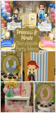 A storybook inspired party based on Jake and the Neverland Pirates and Disney Princesses!  See more party ideas at CatchMyParty.com!