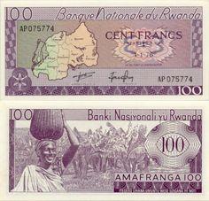 Rwanda  100 Francs 1.1.1976 (Rwanda map, girl)