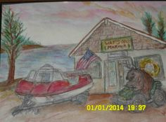 Picture of Watsons Marina in Curtis done for owner and my Brother in Law Lynn Watson (Watercolor and Pencil) 2014