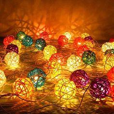 Color Rattan Ball Fairy Lights - Ideal Wedding, Christmas & Party String Lights Decoration (20pcs./set) J41S http://www.amazon.co.uk/dp/B00TKCBYGS/ref=cm_sw_r_pi_dp_KmBvwb0SCQX9C