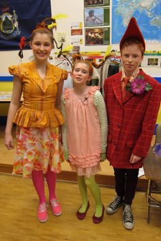My Seussical, Jr. Costumes-- the Who family:  Lots of oranges and pinks, crazy who hair