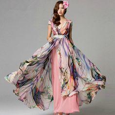 Bohemia chiffon dress maxi dress long dress plus size dress sundress summer dresses Evening dress tunic dress party dress wedding dres