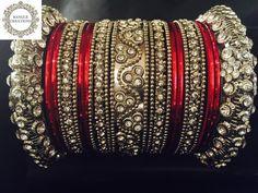 Anjali Bangle Stack (Silver) with Diamanté stones - 23 Bangles | Indian bracelet…