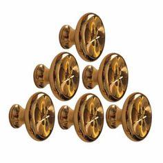 6 Cabinet Knob Bright Solid Brass 1 1/4