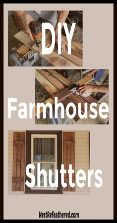 Make your own cedar wood shutters, easy and inexpensive… - Best Do It Yourself (DIY) Ideas 2019 Window Shutters Exterior, Indoor Shutters, Cedar Shutters, Farmhouse Shutters, Rustic Shutters, Diy Shutters, Interior Shutters, Farmhouse Front, Modern Farmhouse