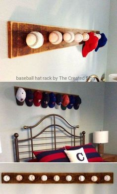 Baseballs on wood to create hat rack.