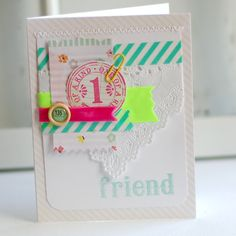 Light, bright and airy with touches of trendy neon. Its the perfect card for sending to a special friend for a birthday, thank you, or just because! 4 1/4 x 5 1/2    Blank inside    This item will be shipped first class in a padded envelope. Thanks for stopping by!  ~Betsy