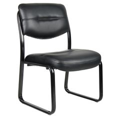 Add a bit of flair to your office or waiting room with this stylish leather guest chair from Boss. Made of a tubular steel frame, the LeatherPlus-upholstered cushions provide a comfortable seat and supportive back to make waiting much easier.