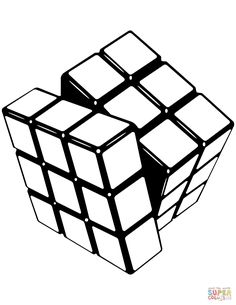 Rubik's Cube coloring page from Misc. Select from 31983 printable crafts of cartoons, nature, animals, Bible and many more. Printable Crafts, Printables, Painted Clothes, Dark Photography, Free Printable Coloring Pages, Pencil Drawings, Geek Stuff, Rubik's Cube, Sketches