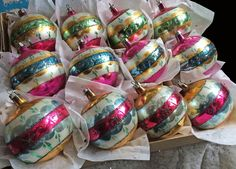 """3"""" Vintage POLAND Glass CHRISTMAS Ornaments HP Pink Green MICA"""