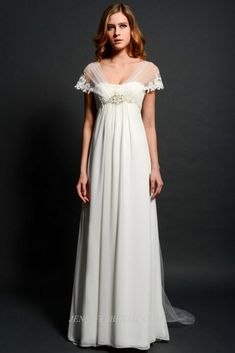 Jane Austen inspired wedding dress.  Aren't the cap sleeves adorable?  I'd wed Mr D'arcy in anything really but this is probably the wedding dress I'd most prefer to do it in.  Just call me Lizzie B