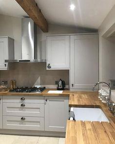 New Kitchen Corner Cupboard Appliance Garage Ideas Kitchen Corner Cupboard, Grey Kitchen Cabinets, Kitchen Countertops, Kitchen Grey, Quartz Countertops, Corner Sink, White Cabinets, Wooden Worktop Kitchen, Ikea Cupboards